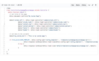 Произвольная страница на OpenCart 2.x