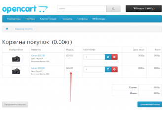 Модуль Артикулы для опций Opencart 2.x